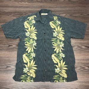 Tommy Bahama Grey Stripe Hawaiian Shirt M